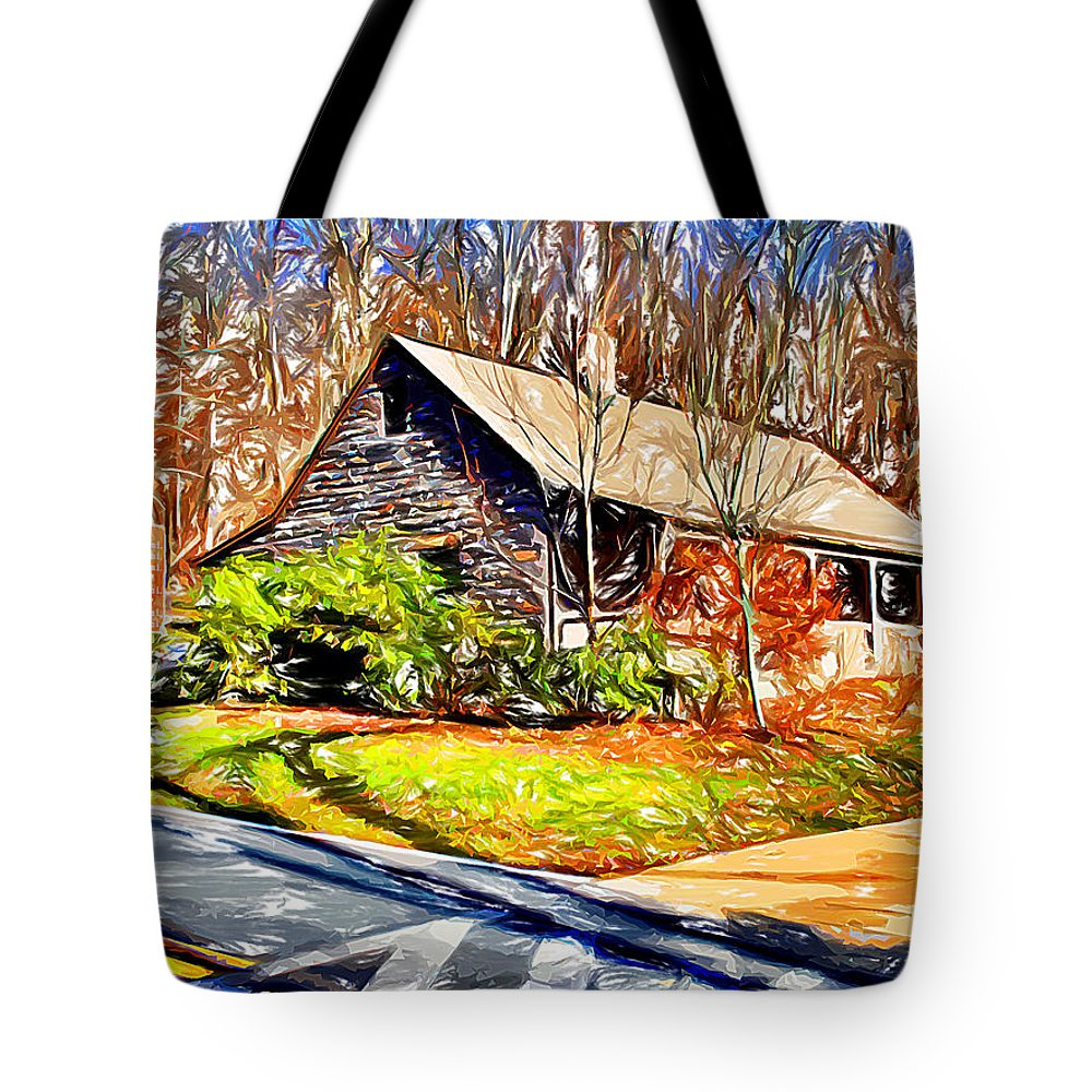 Catoctin Mountain Park Tote Bag featuring the digital art Catoctin Visitor Center by Stephen Younts