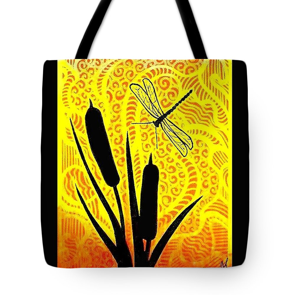 Cattails Tote Bag featuring the painting Cattails And Dragonfly by Jim Harris