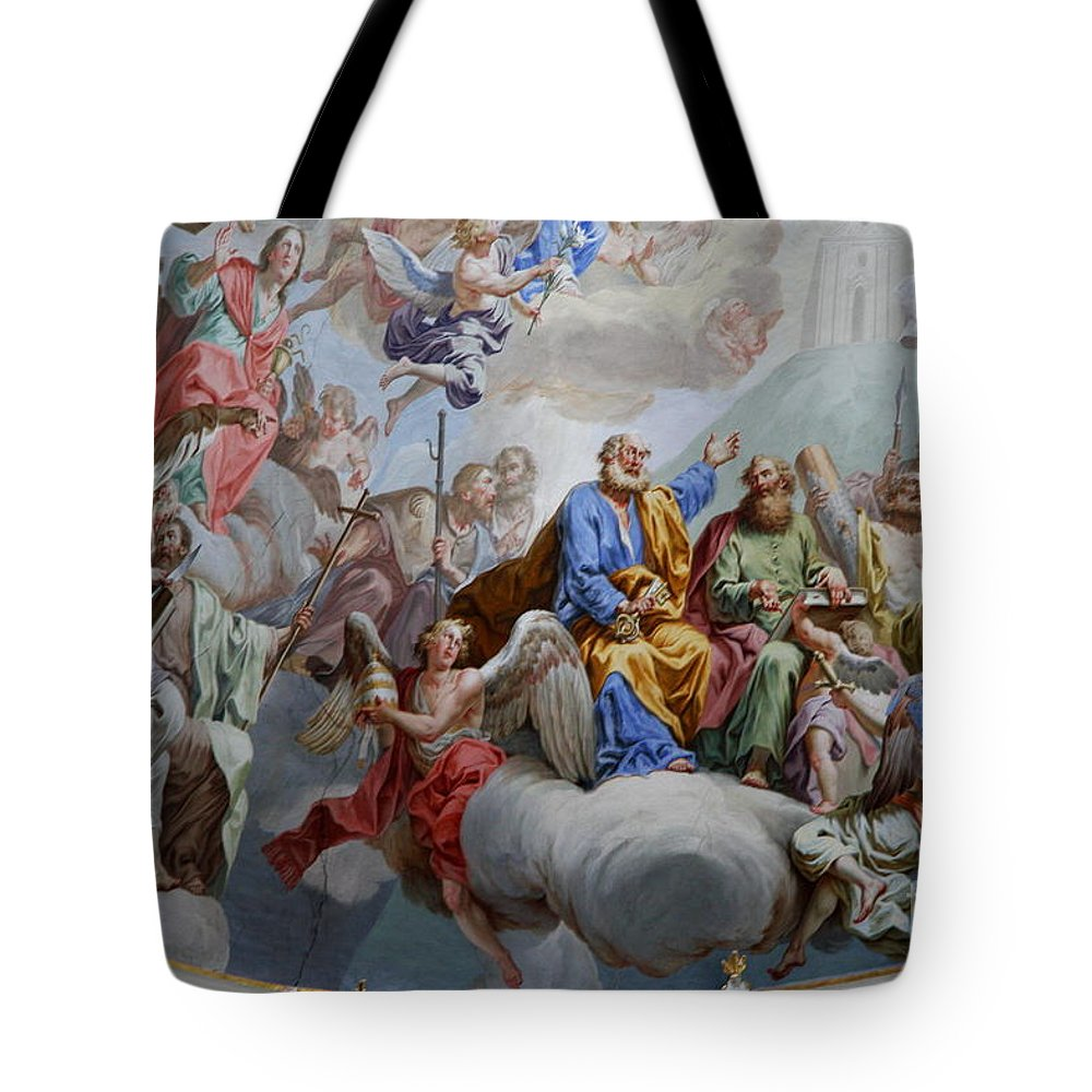 Ceiling Fresco Tote Bag featuring the photograph Ceiling Fresco - Karls Church by Christiane Schulze Art And Photography