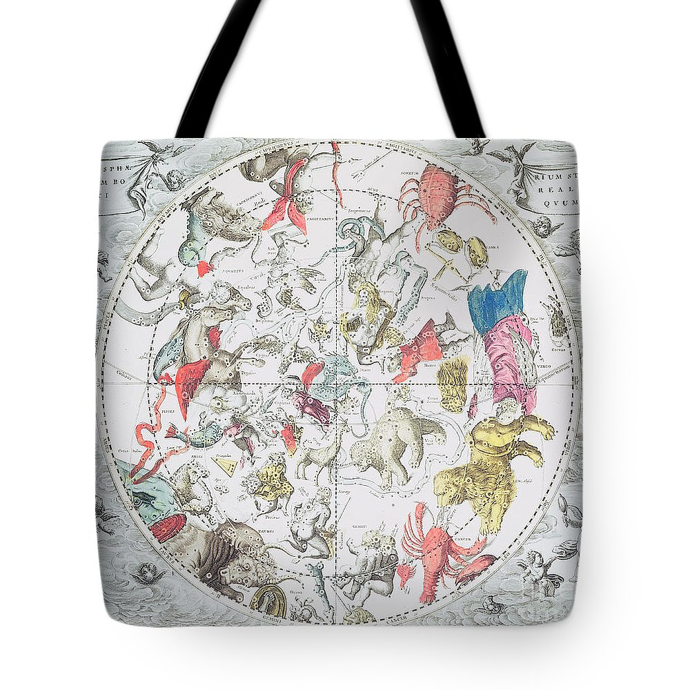 Celestial Planisphere Showing The Signs Of The Zodiac Tote Bag featuring the drawing Celestial Planisphere Showing The Signs Of The Zodiac by Andreas Cellarius