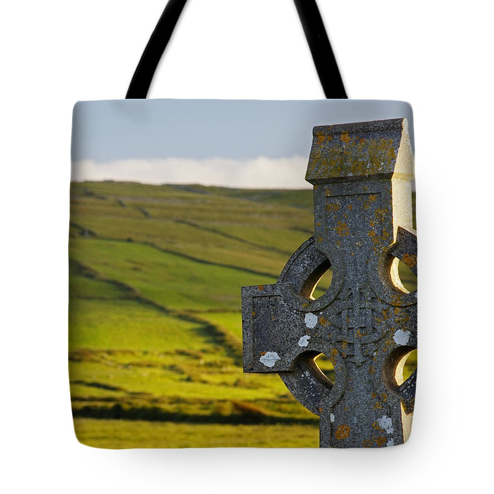 Irish Tote Bag featuring the photograph Celtic Cross In A Cemetery by Trish Punch