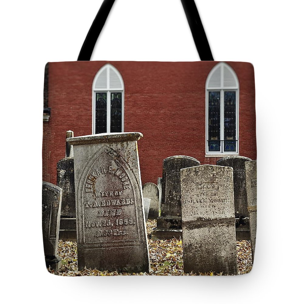 Chester Tote Bag featuring the photograph Cemetery And Church by John Greim