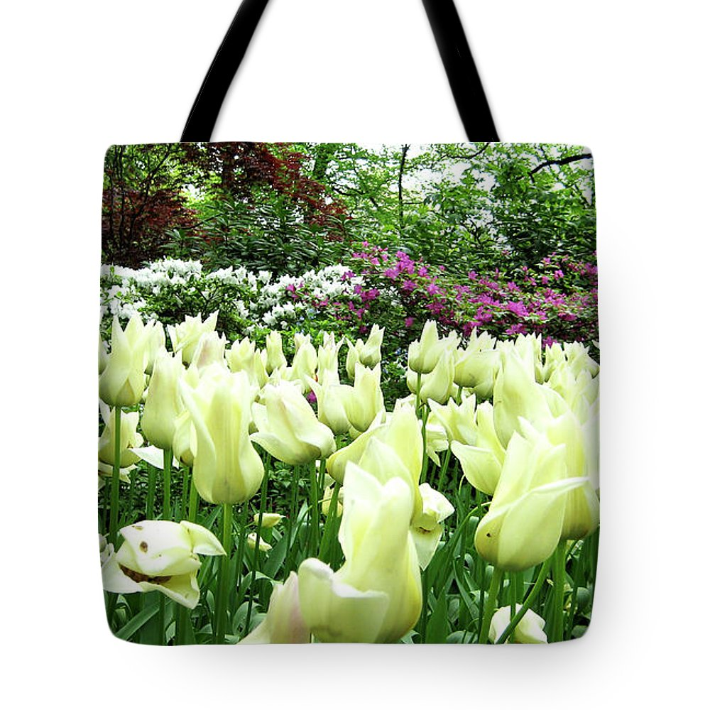 Central Park Tote Bag featuring the photograph Central Park Tulips by Lorraine Devon Wilke