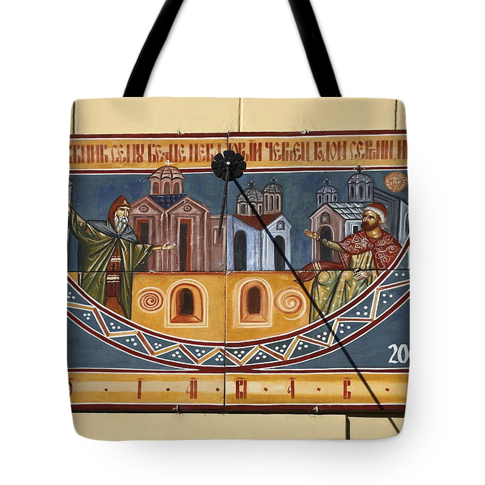 Ceramic Sundial Tote Bag featuring the photograph Ceramic Sundial by Sally Weigand