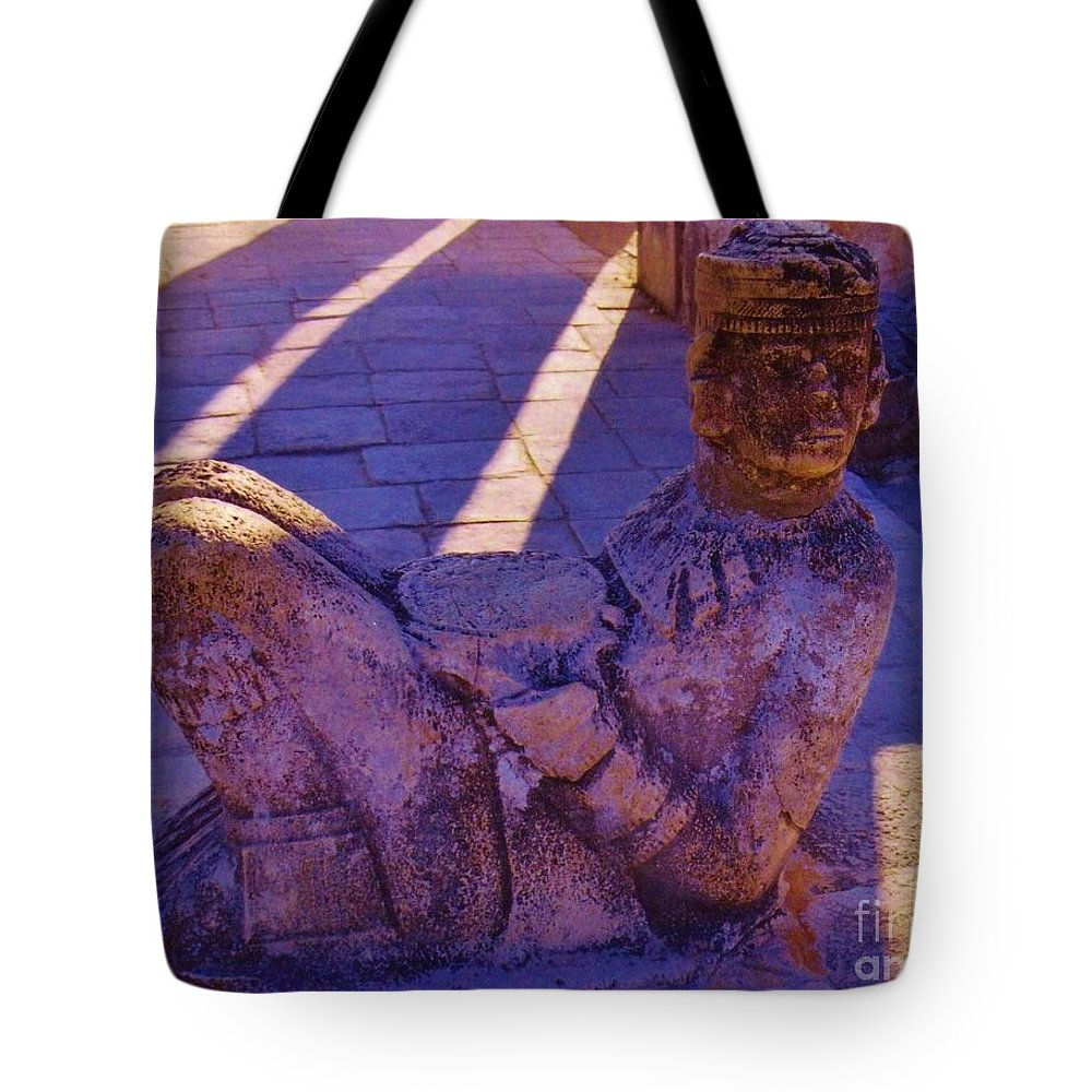 Purple Tote Bag featuring the photograph Chac Mool by John Malone