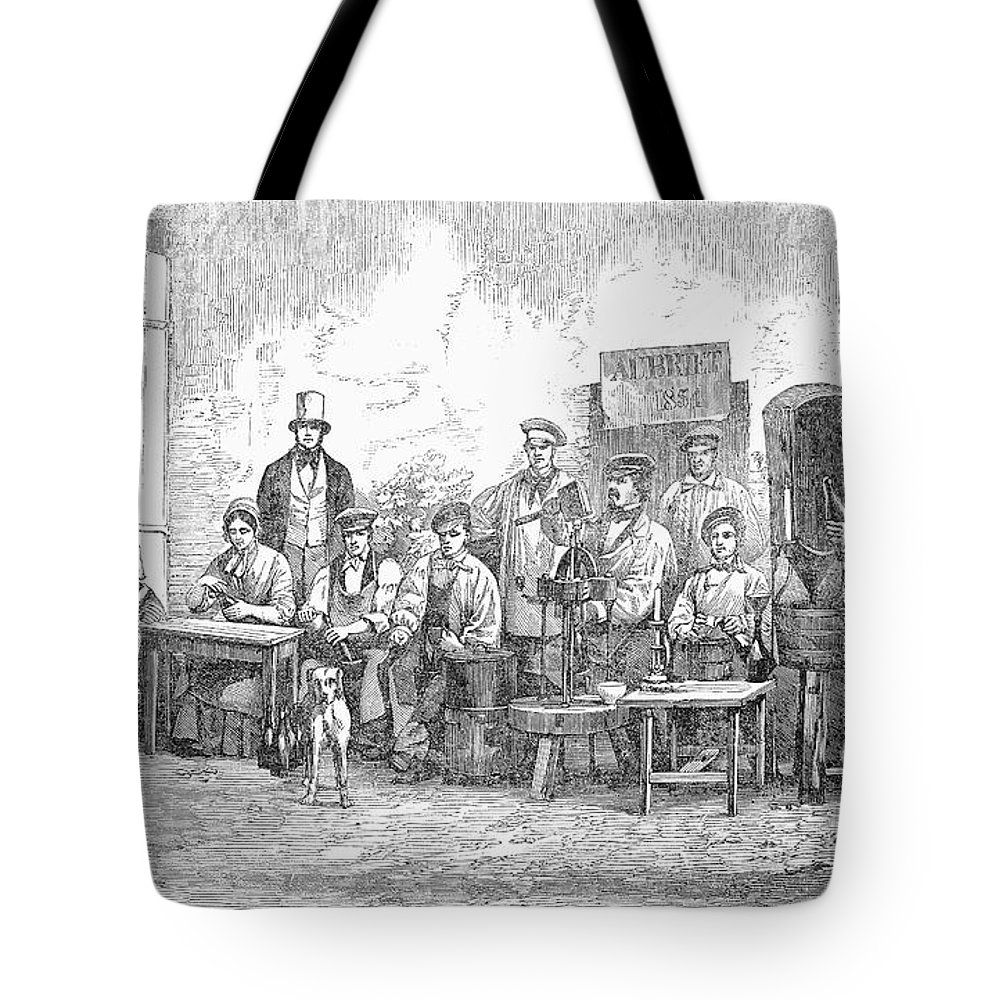 1855 Tote Bag featuring the photograph Champagne Production, 1855 by Granger