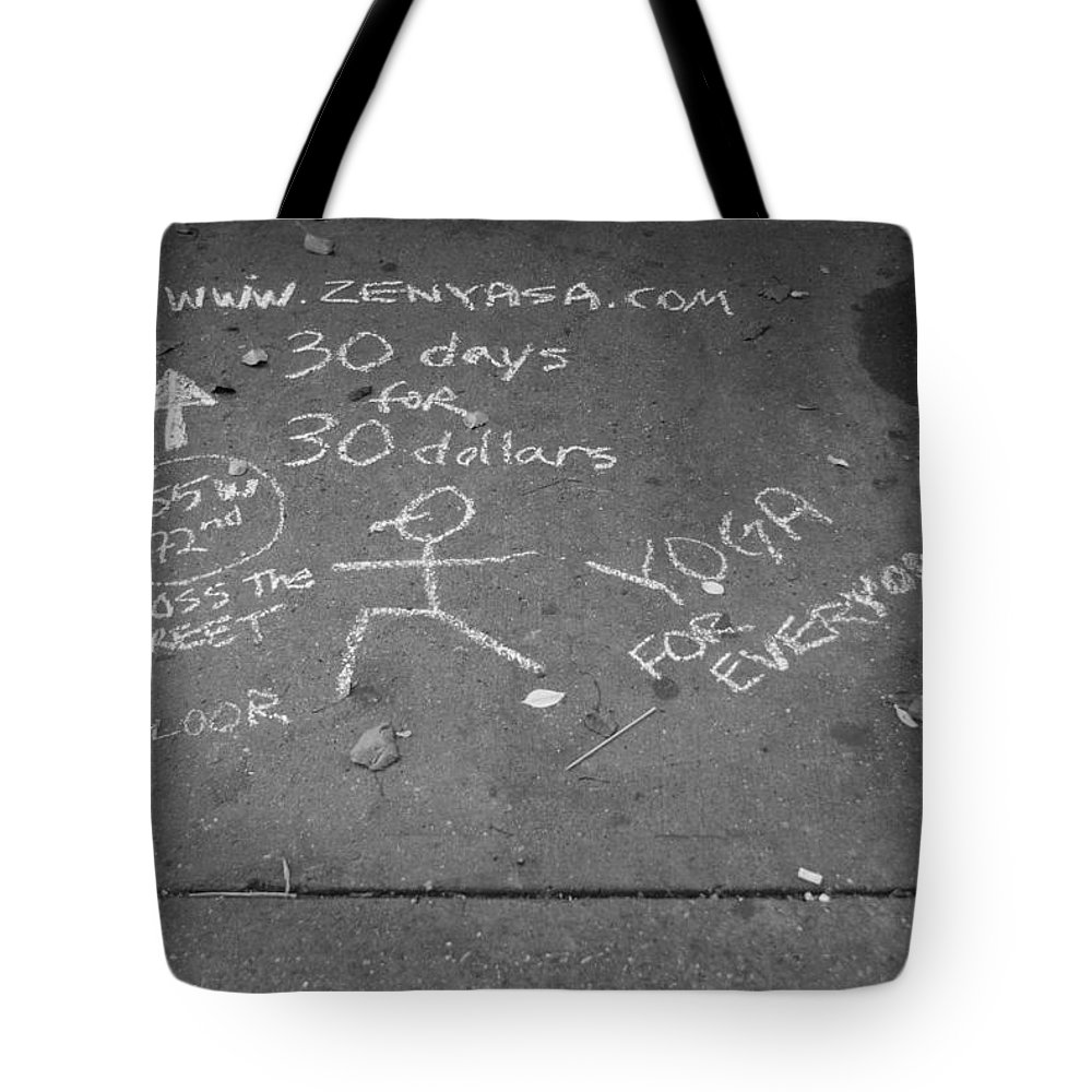 Black And White Tote Bag featuring the photograph Cheap Advertising In N Y C In Black And White by Rob Hans