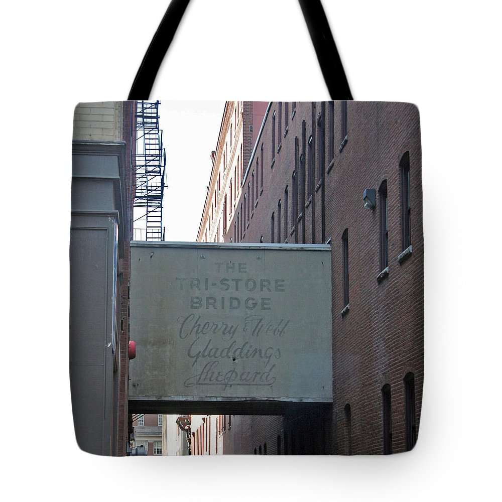 Bridge Tote Bag featuring the photograph Cherry And Webb by Erin Rosenblum