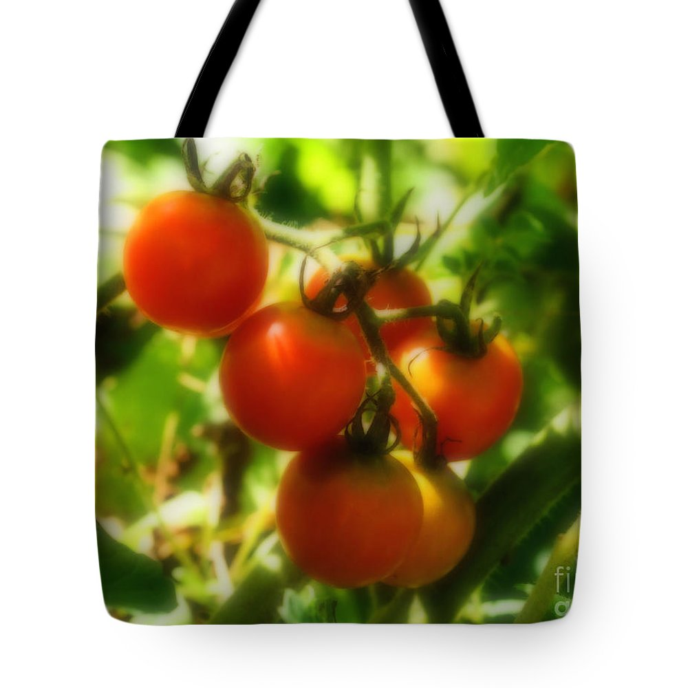 Food Tote Bag featuring the photograph Cherry Tomatoes On The Vine by Smilin Eyes Treasures