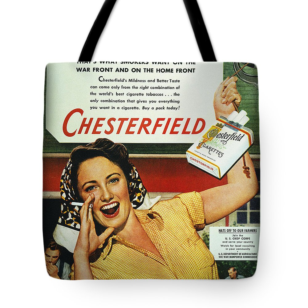 1943 Tote Bag featuring the photograph Chesterfield Cigarette Ad by Granger