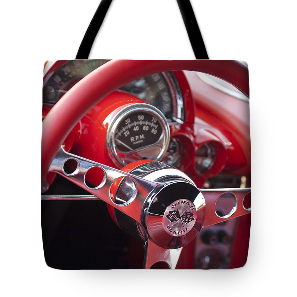 Chevrolet Corvette Tote Bag featuring the photograph Chevrolet Corvette Steering Wheel by Jill Reger