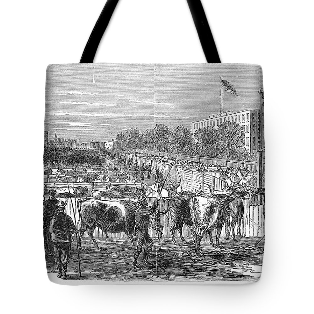 1868 Tote Bag featuring the photograph Chicago: Cattle Market by Granger