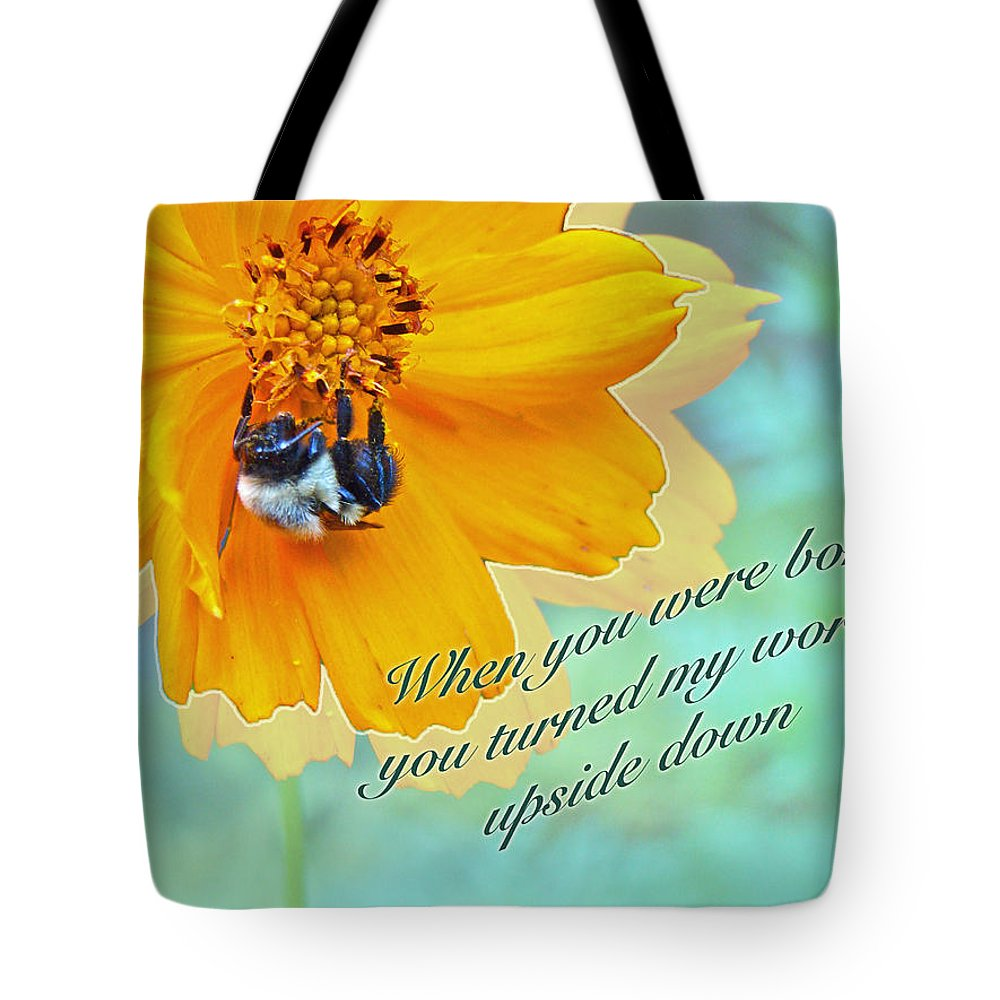 Birthday Tote Bag featuring the photograph Child Birthday Greeting From Parent Parents - Cosmos And Bumblebee by Mother Nature