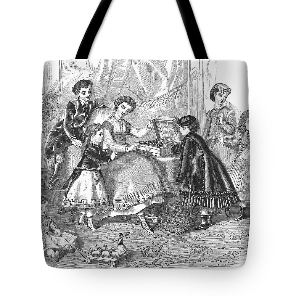 1868 Tote Bag featuring the photograph Childrens Fashion, 1868 by Granger