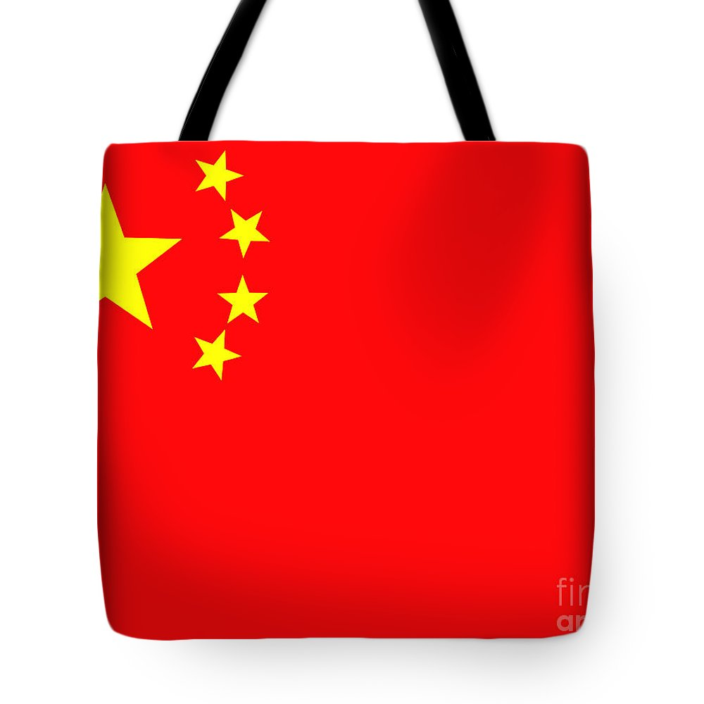 Chinese Flag Tote Bag featuring the photograph Chinese Flag by Steev Stamford