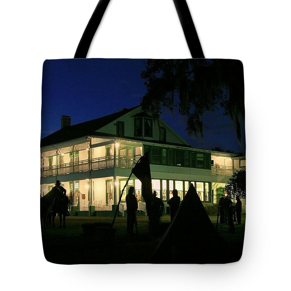 chinsegut Hill Tote Bag featuring the photograph Chinsegut Hill Encampment by Myrna Bradshaw