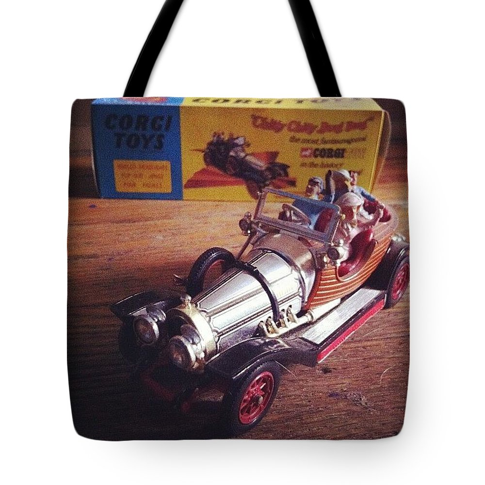 Car Tote Bag featuring the photograph Chitty Chitty Bang Bang Corgi Toy by Katie Cupcakes