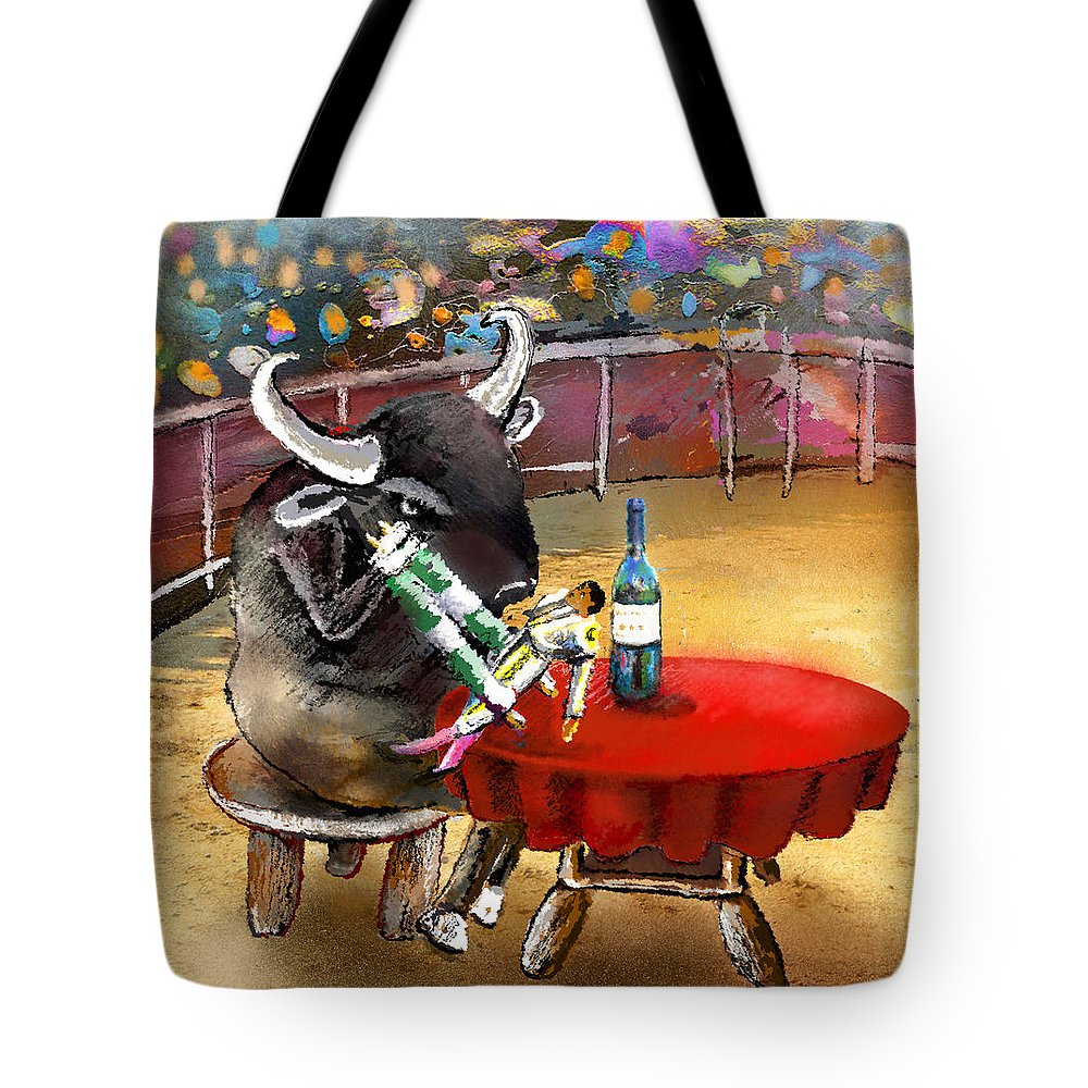 Bulls Tote Bag featuring the painting Chop Sticks For A Bull by Miki De Goodaboom