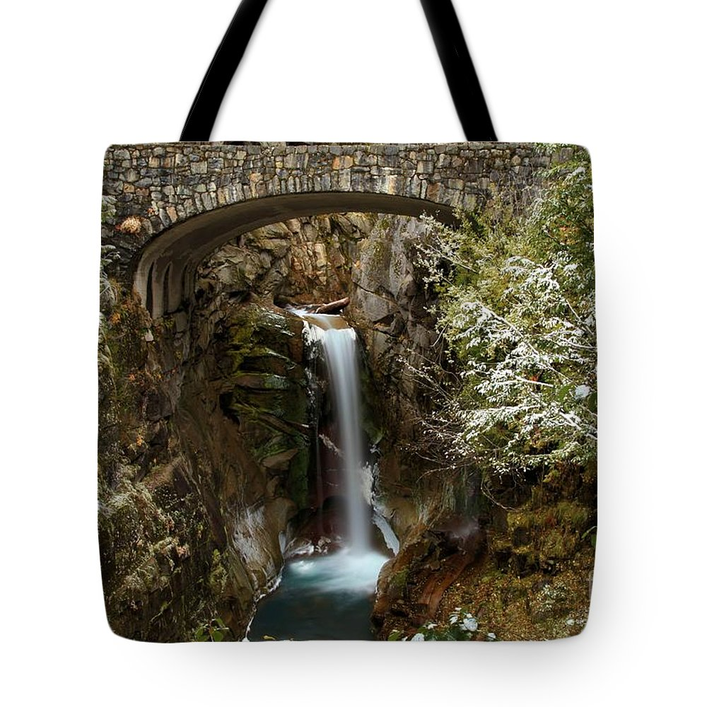 Christine Falls Tote Bag featuring the photograph Christine Under The Bridge by Adam Jewell
