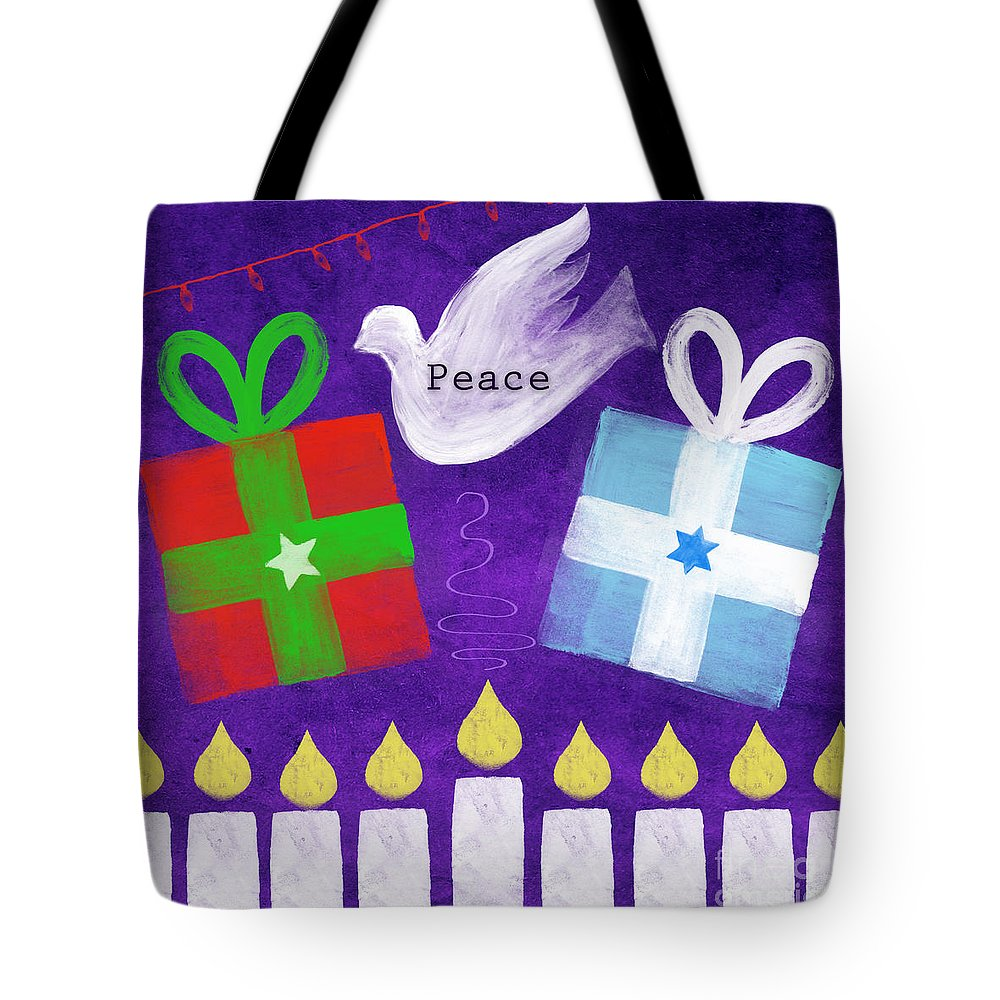 Christmas Tote Bag featuring the mixed media Christmas And Hanukkah Peace by Linda Woods