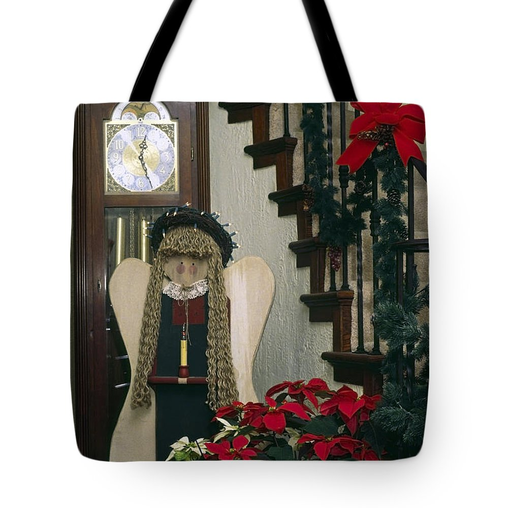 Stairway Tote Bag featuring the photograph Christmas Angel by Sally Weigand