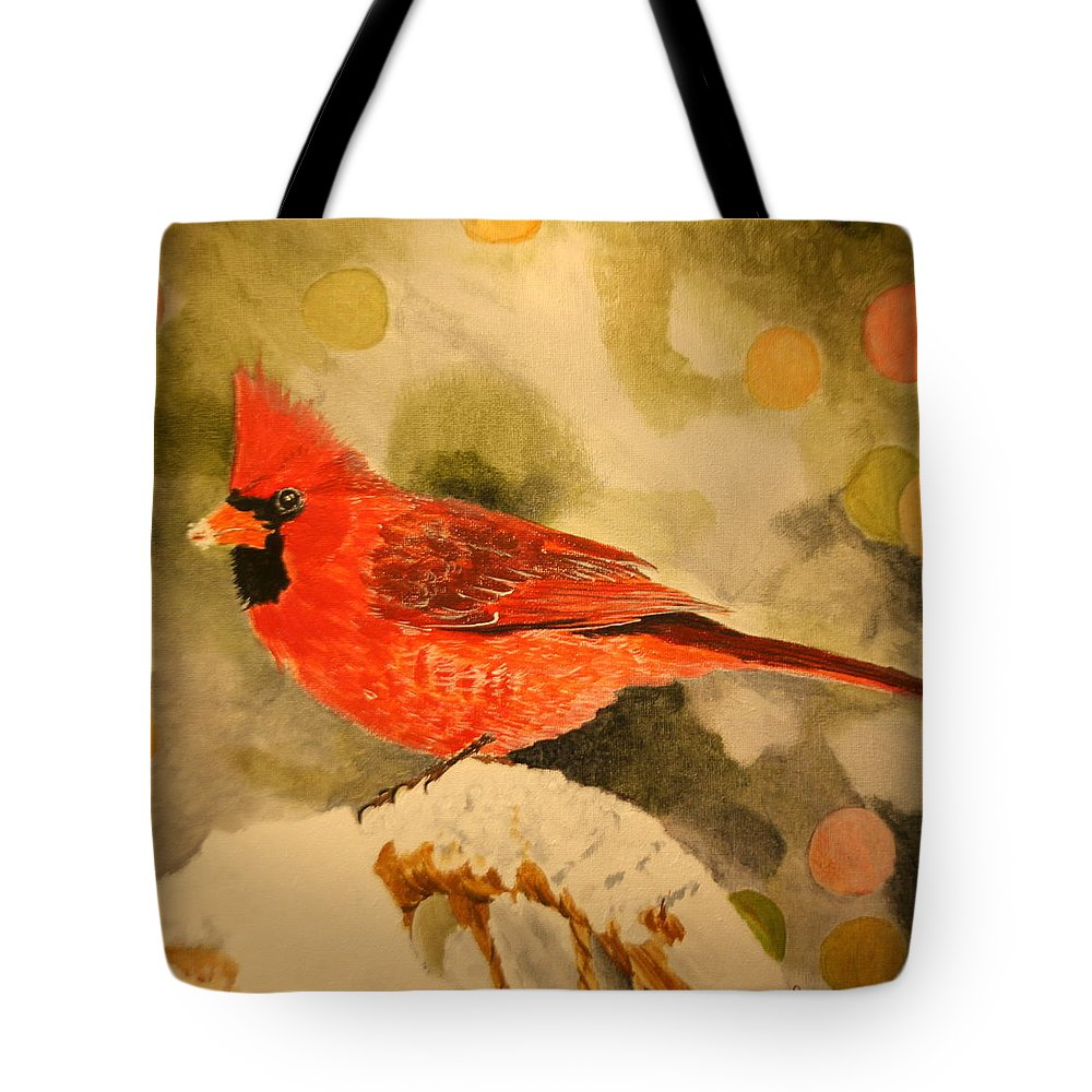 Northern Cardinal Tote Bag featuring the painting Christmas Cardinal by Betty-Anne McDonald