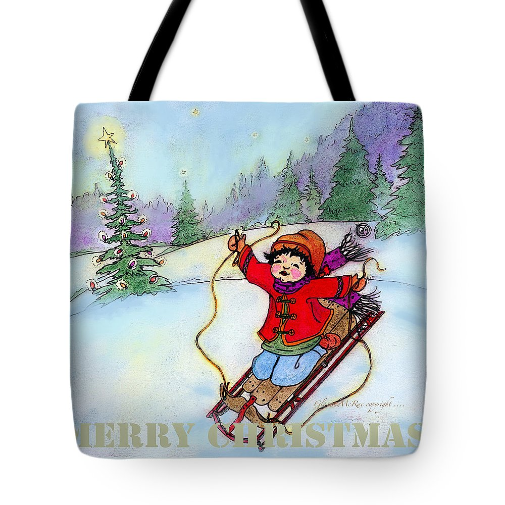 Watercolor Tote Bag featuring the painting Christmas Joy Child On Sled by Glenna McRae