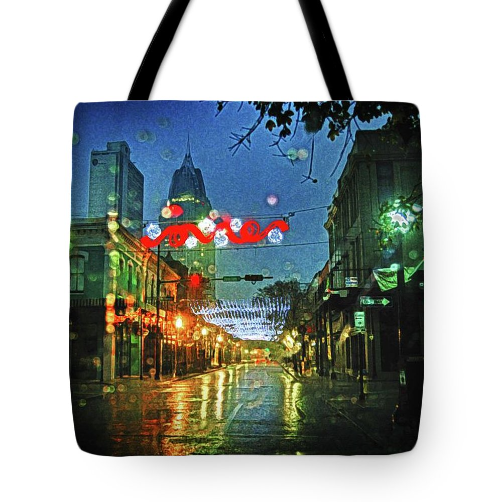 Alabama Photographer Tote Bag featuring the digital art Lights At 3 Georges In Mobile Al by Michael Thomas