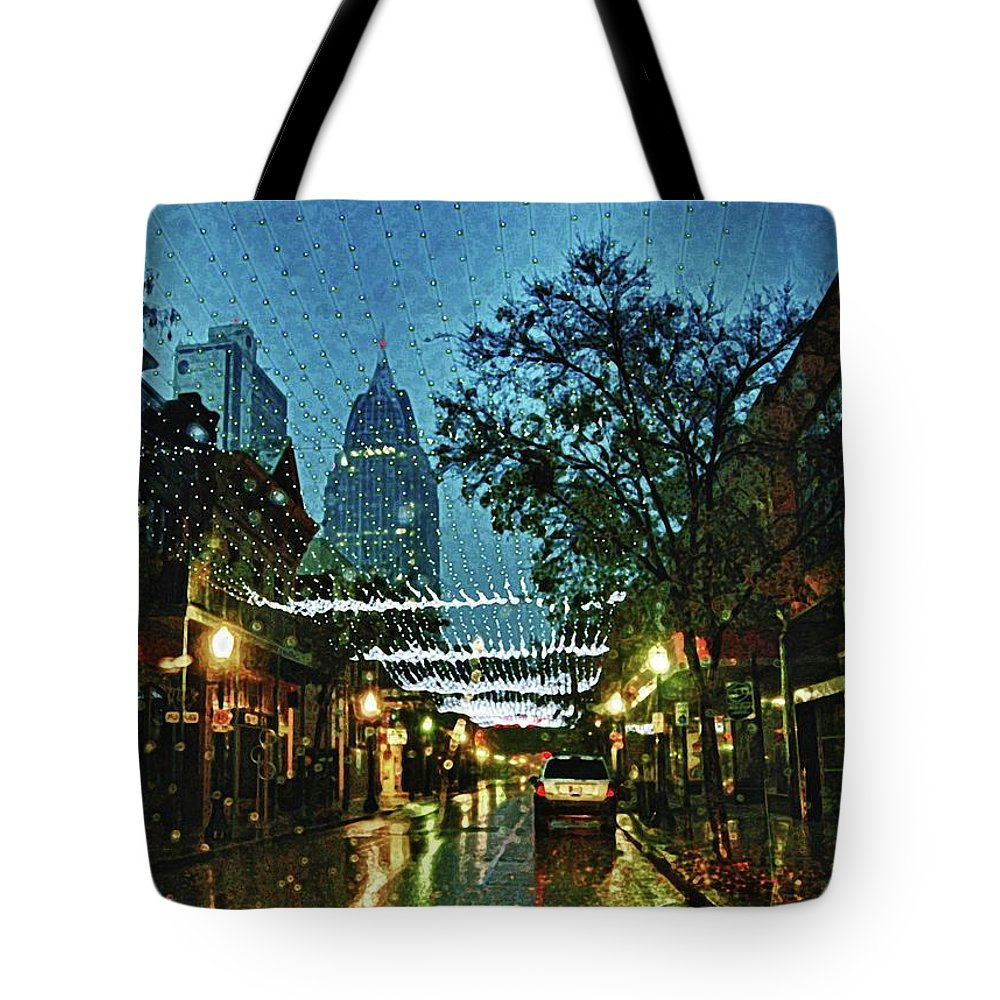 Mobile Tote Bag featuring the digital art Christmas Lights Down Dauphin Street by Michael Thomas