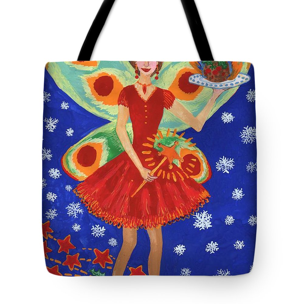 Fairy Tote Bag featuring the painting Christmas Pudding Fairy by Sushila Burgess