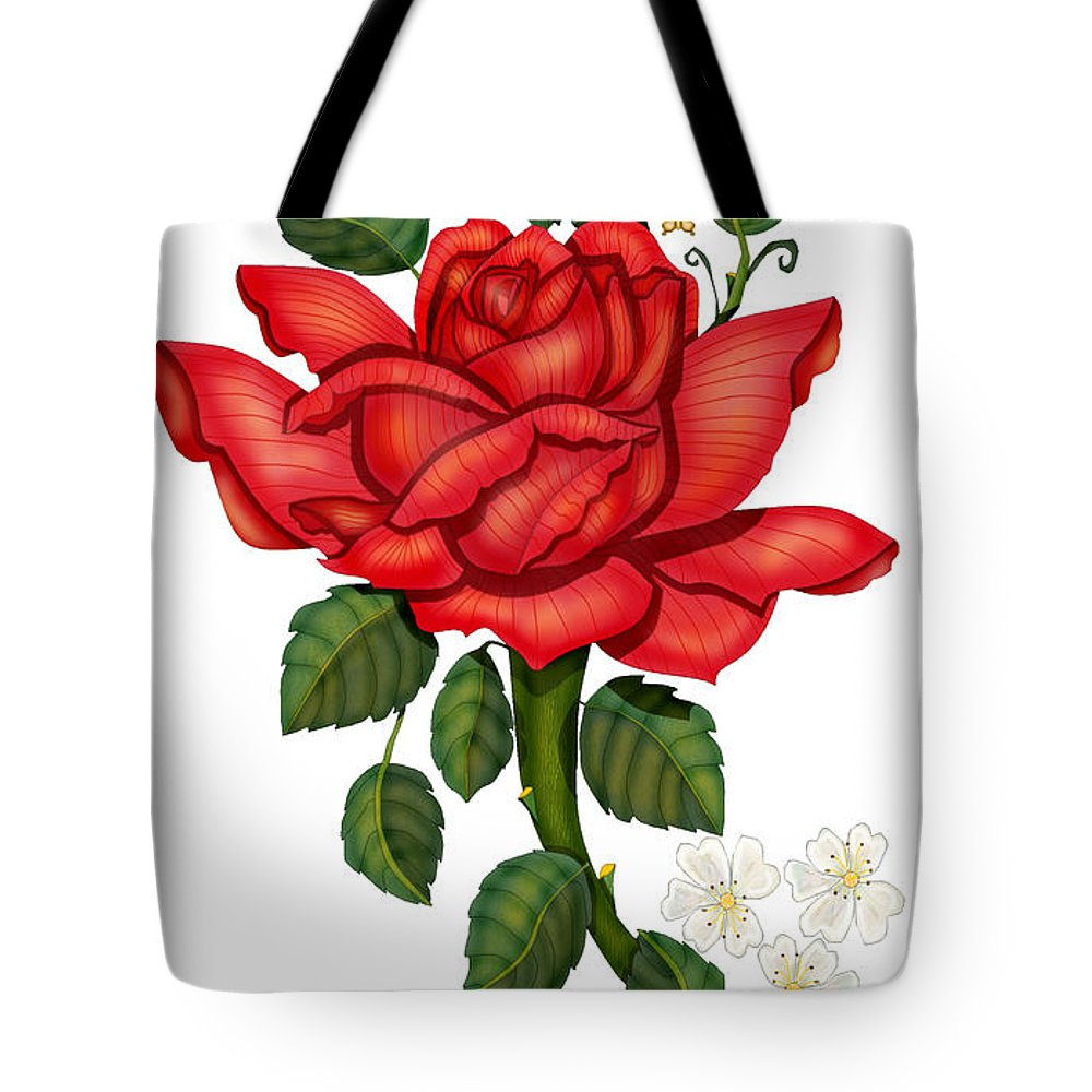 Hand-drawn Digital Art; Hand-drawn Digital Rose; Digital Rose; Anne Norskog Rose; Red Rose; Red Rose On White Background Tote Bag featuring the painting Christmas Rose 2011 by Anne Norskog