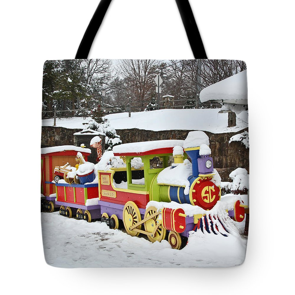 Christmas Tote Bag featuring the photograph Christmas Train by Tom and Pat Cory
