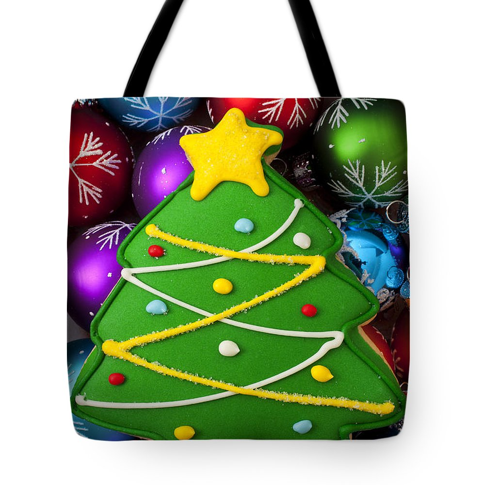 Colorful Ornaments Tote Bag featuring the photograph Christmas Tree Cookie With Ornaments by Garry Gay