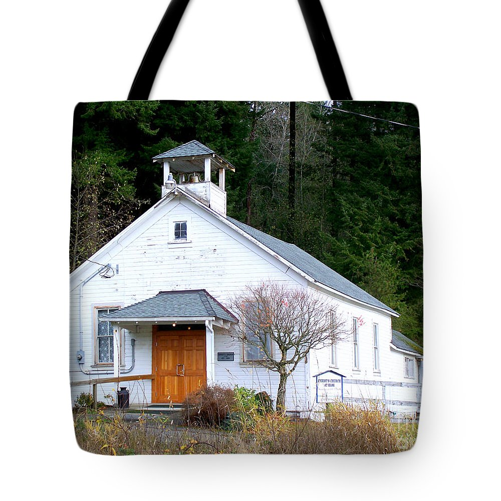 Old Church Building Tote Bag featuring the photograph Christs Church At Elbe Washington by Kathy White