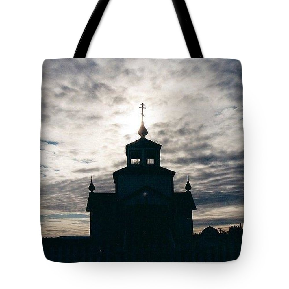 Alaska Tote Bag featuring the photograph Russian Orthodox Church Alaska by Beverly Webster