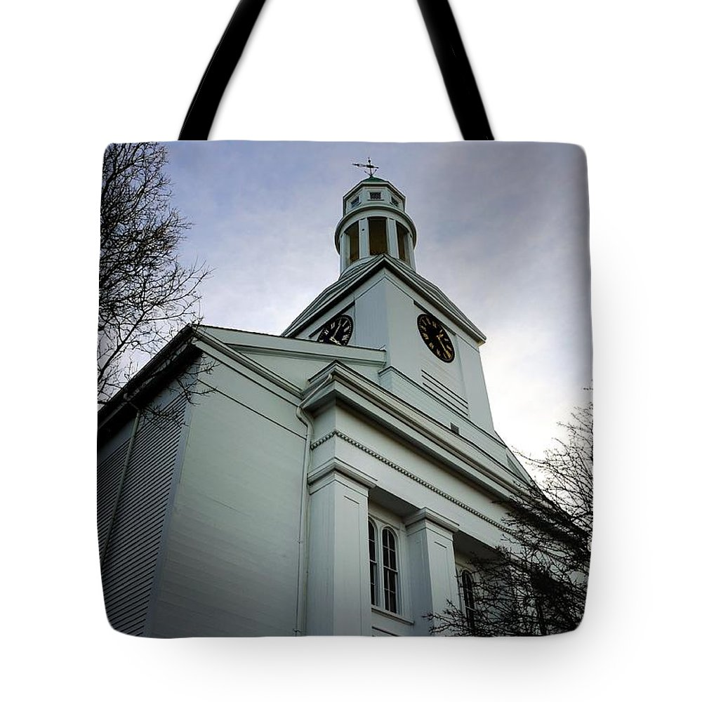 Rockport Tote Bag featuring the photograph Church In Perspective by Mark Valentine