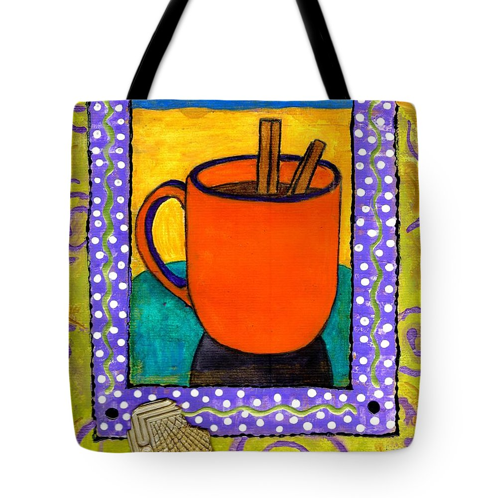 Cinnamon Tote Bag featuring the mixed media Cinnamon Brew by Angela L Walker