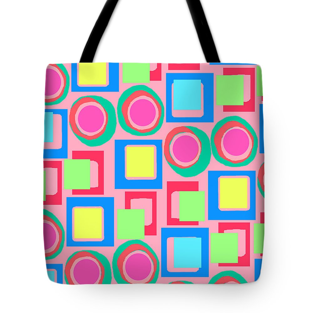 Louisa Tote Bag featuring the digital art Circles And Squares by Louisa Knight