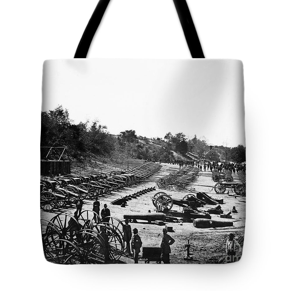 1864 Tote Bag featuring the photograph Civil War: Artillery by Granger