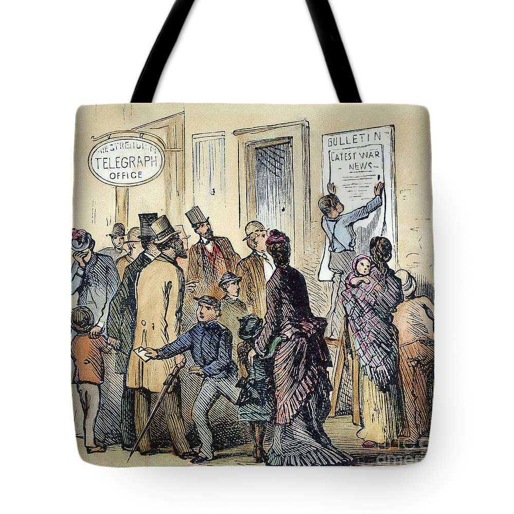 1861 Tote Bag featuring the photograph Civil War Telegraph Office by Granger