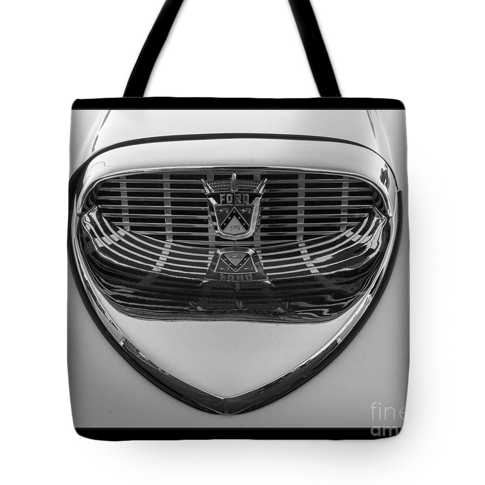 Ford Tote Bag featuring the photograph Classic Ford Thunderbird Hood by Darleen Stry