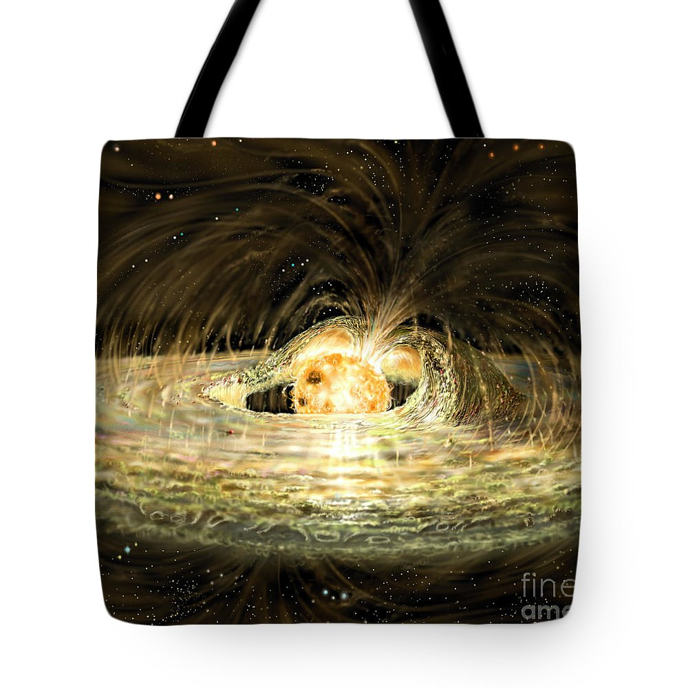 Accreting Tote Bag featuring the digital art Classic T Tauri Star by Russell Kightley
