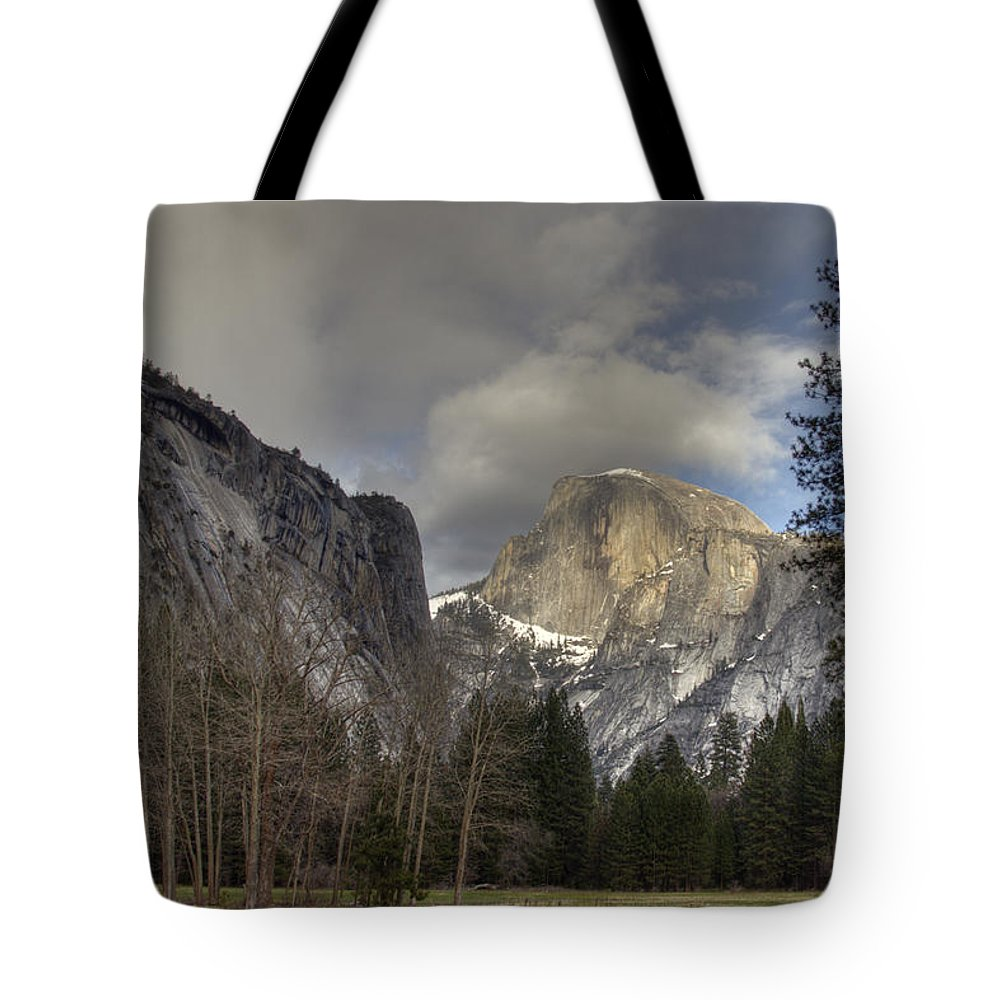 Clearing At Half Dome Tote Bag featuring the photograph Clearing At Half Dome by Wes and Dotty Weber