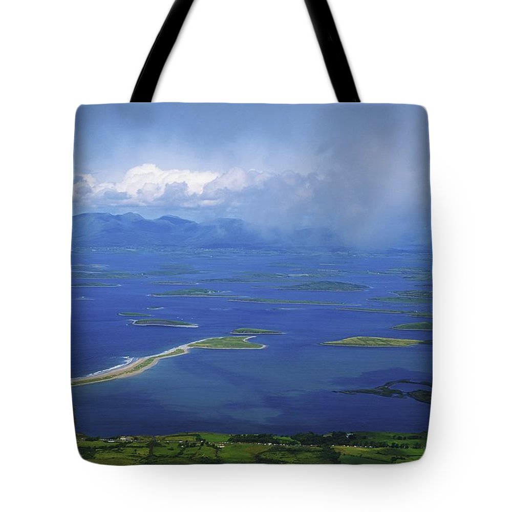 Clew Bay Tote Bag featuring the photograph Clew Bay, Co Mayo, Ireland View Of A by The Irish Image Collection