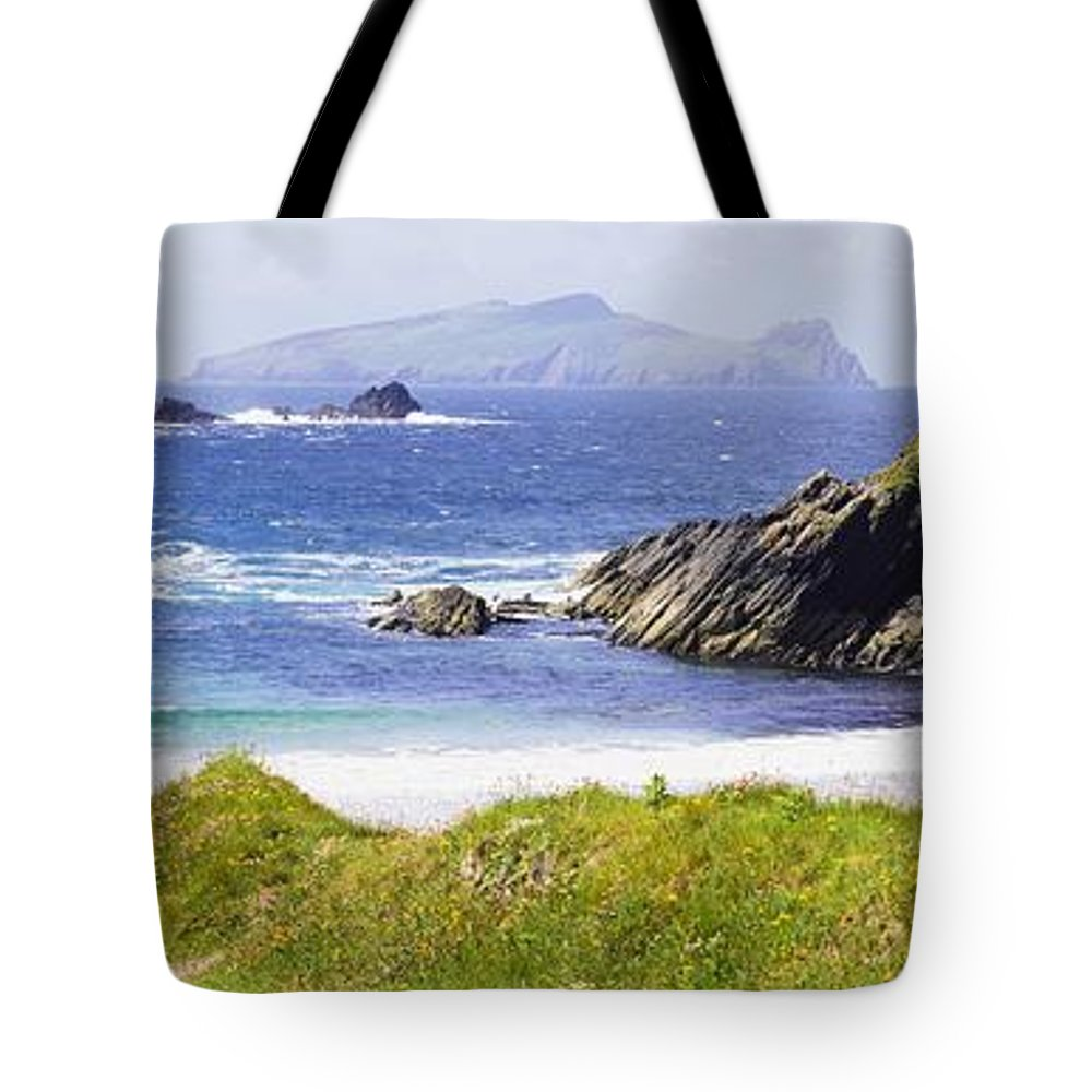 Day Tote Bag featuring the photograph Clogher Beach, Blasket Islands, Dingle by The Irish Image Collection