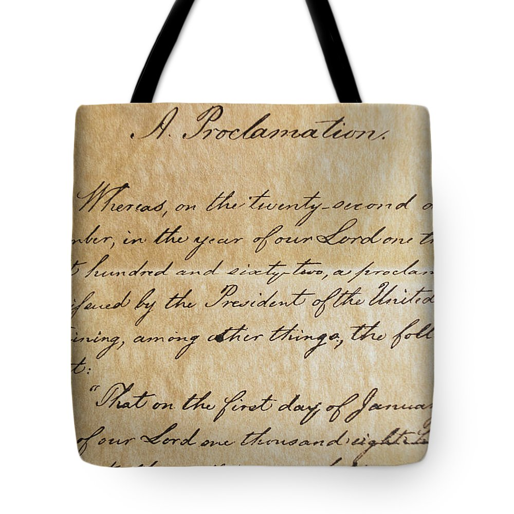 Legislation Tote Bag featuring the photograph Close-up Of A Copy Of The Emancipation by Todd Gipstein