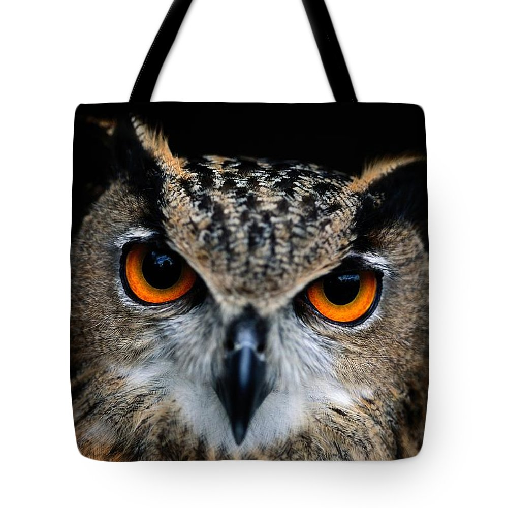 Animals Tote Bag featuring the photograph Close Up Of An African Eagle Owl by Joel Sartore