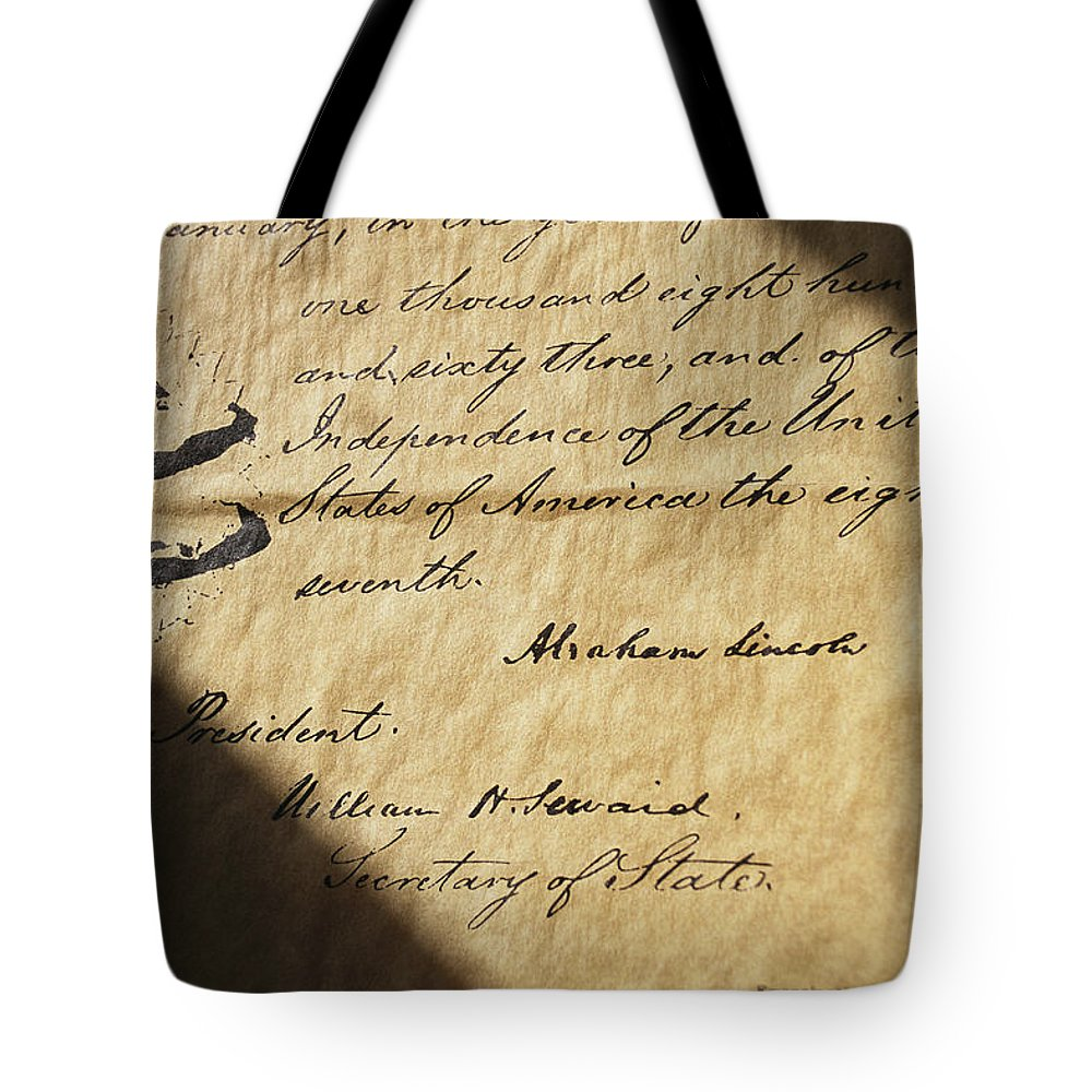 Legislation Tote Bag featuring the photograph Close-up Of Emancipation Proclamation by Todd Gipstein