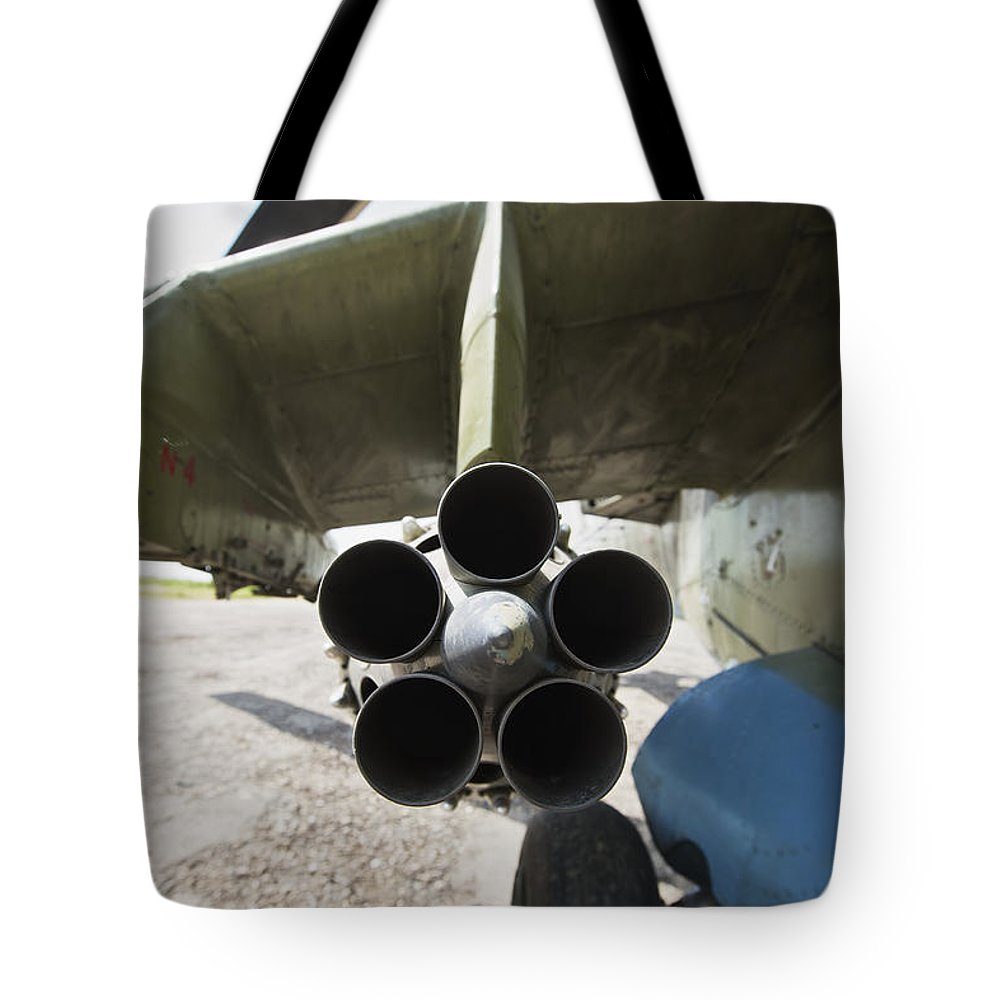 Airport Tote Bag featuring the photograph Close-up View Of The Rocket Pod On An by Terry Moore
