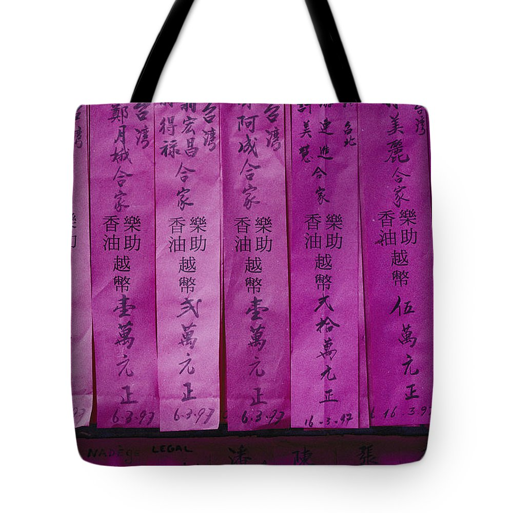 cholon Tote Bag featuring the photograph Close View Of Offerings Made by Steve Raymer